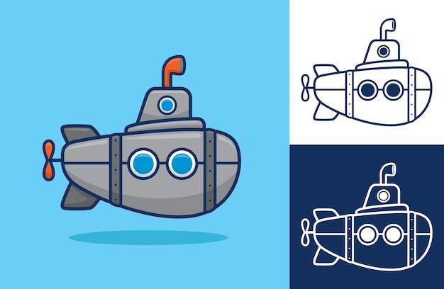 Подводная лодка плоский мультяшный.