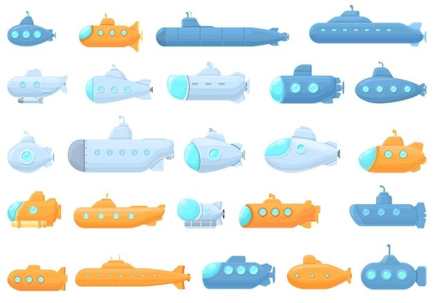 Набор иконок подводной лодки. мультфильм набор иконок подводной лодки