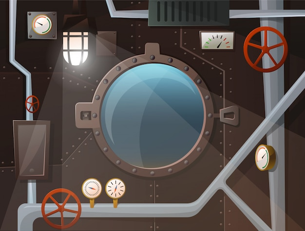 Submarine interior with porthole, pipes, gauges, levers, lamp, iron wall with studs. view two the ocean. cartoon style, vector