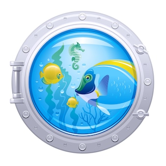 Submarine porthole with colorful underwater life, sea horse and tropical fishes, isolated.