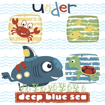 해양 생물에 잠수함 로봇 만화