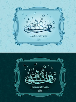 Submarine sailing under water, underwater sea voyage, vintage ornament template.