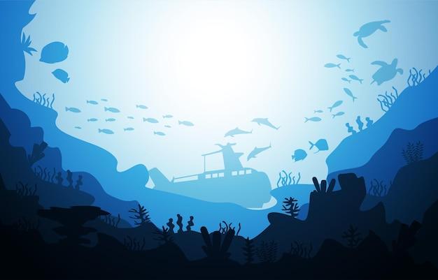 Подводный корабль дикой природе морских животных океана подводный водный иллюстрация