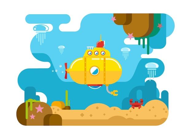 潜水艦水中コンセプトフラットイラスト