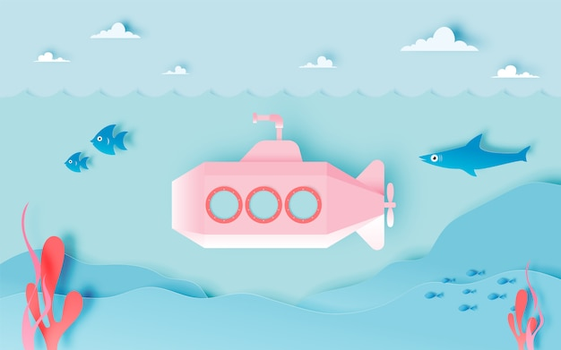 Submarine undersea with many fish in pastel scheme and paper art style vector illustration