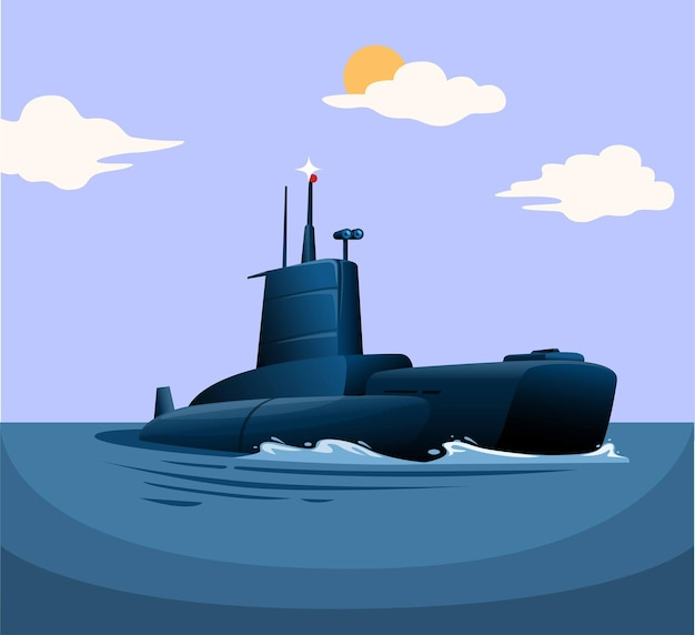 Submarine warship military vehicle floating in ocean concept illustration