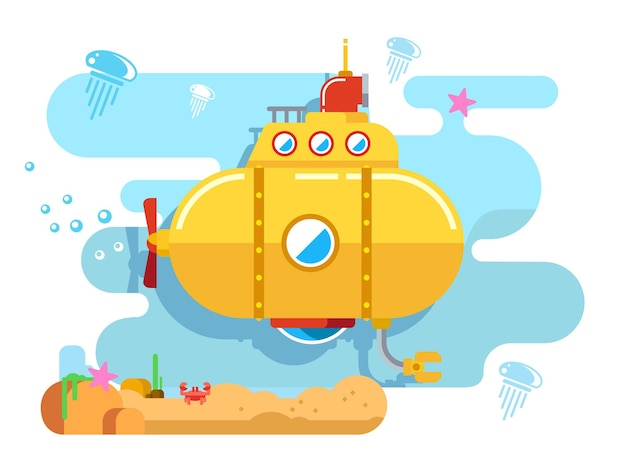 Submarine under water concept vector flat illustration