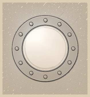 Submarine window or porthole in engraving style