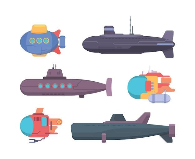 Подводные лодки. путешествие, дайвинг, подводная лодка, исследователь, пропеллер, корабль, векторная коллекция. иллюстрация подводного корабля и подводной лодки с перископом
