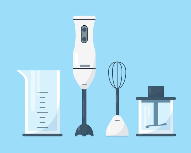 Submersible blender with accessories different parts of hand blender on blue background