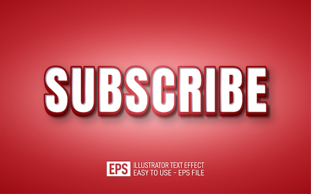 Subscribe,3d editable text effect red gradation white comic style