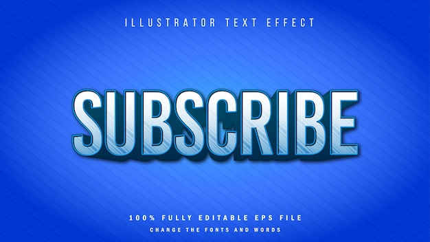 購読、3dテキスト効果の活版印刷デザイン