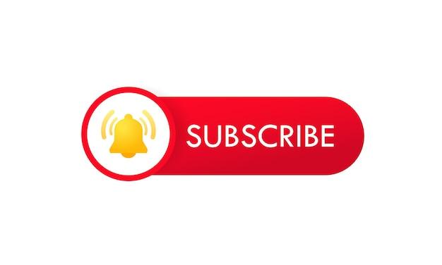 알림 벨이 있는 구독 버튼 템플릿. 비디오 채널. 소셜 미디어의 빨간색 버튼 로그인입니다. 격리 된 흰색 배경에 벡터입니다. eps 10.