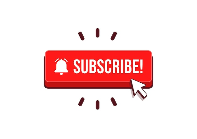 Subscribe button with arrow cursor and shadow icon vector.