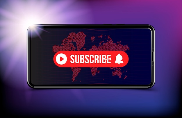 Subscribe button with bell icon in realistic smartphone with world map.