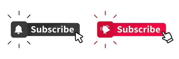 Subscribe button with cursor. buttons like, comment and dislike. blogging, promotion, subscribe to channel, blog. subscribe on channel. live video streaming notification or message bell icon