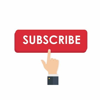 Subscribe button with hand clicking it