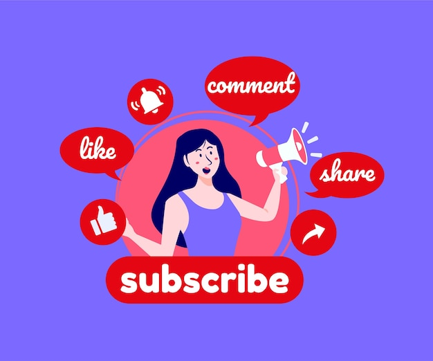 Subscribe comment and like youtube social media