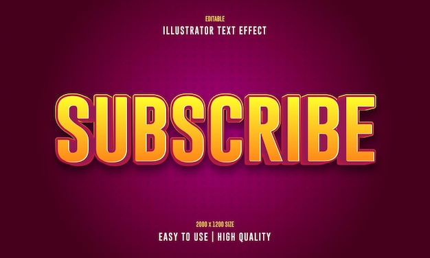 Subscribe editable 3d text effect