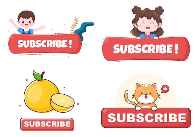 Subscribe icon button background vector illustration for youtube, blogging, promotion. social media post concept