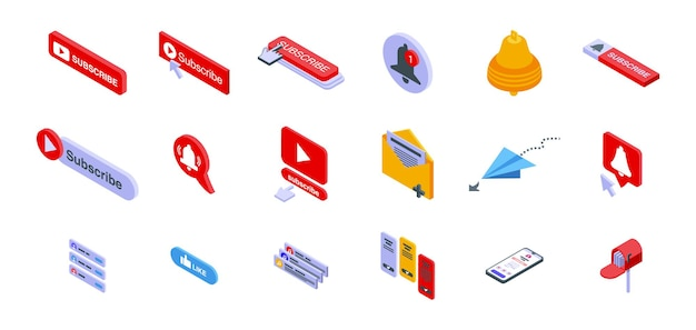 Subscribe icons set. isometric set of subscribe icons for web design isolated on white background