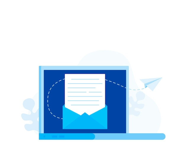 Subscribe to newsletter concept. open message with the document. paper airplanes icon. modern flat style vector illustration
