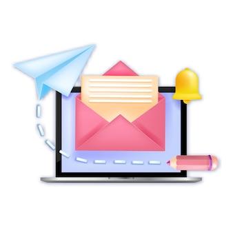 뉴스 레터 구독, 새로운 이메일 알림 개념, 노트북 화면, 종이 비행기, 열린 봉투