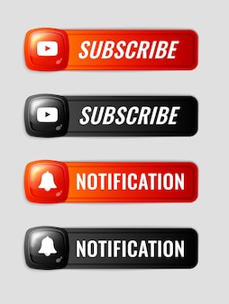 Subscribe and notification 3d buttons set