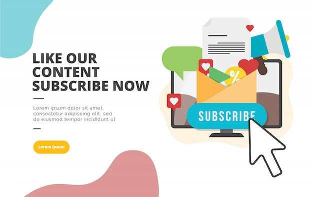 Subscribe now flat design banner illustration