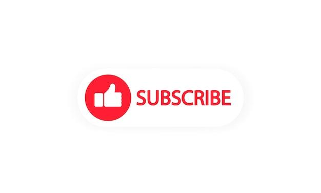 チャネルでサブスクライブします。ソーシャルメディアの「いいね」の赤いボタン。影付きのフラットスタイルのネットワークシンボル。孤立した白い背景の上のベクトル。 eps10。