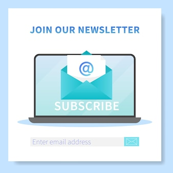 Subscribe to our newsletter web banner template. laptop with opened browser page and envelope with new letter. mail marketing, correspondence service delivery registration banner.