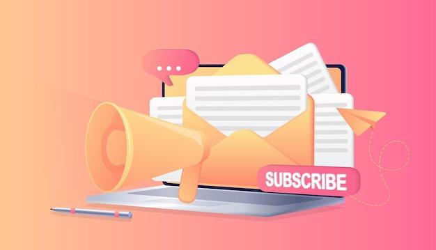구독 빨간색 버튼 이메일 뉴스 구독 소셜 미디어 배경 마케팅