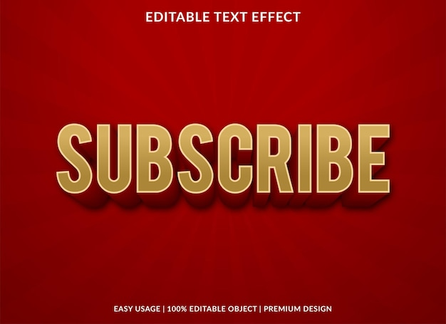 Subscribe text effect with bold style