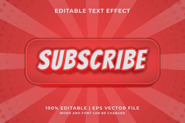 구독 텍스트, 소셜 미디어 버튼 스타일 편집 가능한 텍스트 효과 premium vector