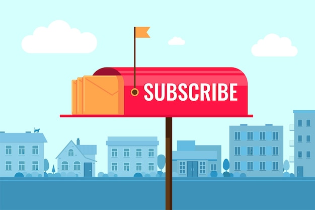 町の背景のサブスクリプションコンセプトベクトルバナーのメールボックスでニュースレターのコンセプトを購読する