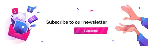 Подпишитесь на нашу рассылку мультяшный баннер, рассылка новостей по электронной почте