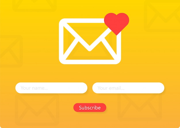 뉴스 레터 양식 구독 봉투 이메일 서명 양식을 작성하십시오