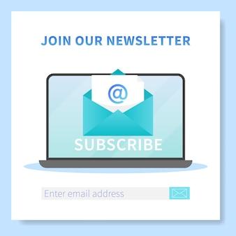 뉴스 레터 웹 배너 템플릿을 구독하십시오. 열린 브라우저 페이지와 새 편지 봉투가있는 노트북. 메일 마케팅, 통신 서비스 배송 등록 배너.