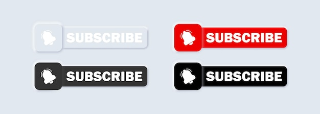 Subscribe with cursor bell button and hand cursor illustration