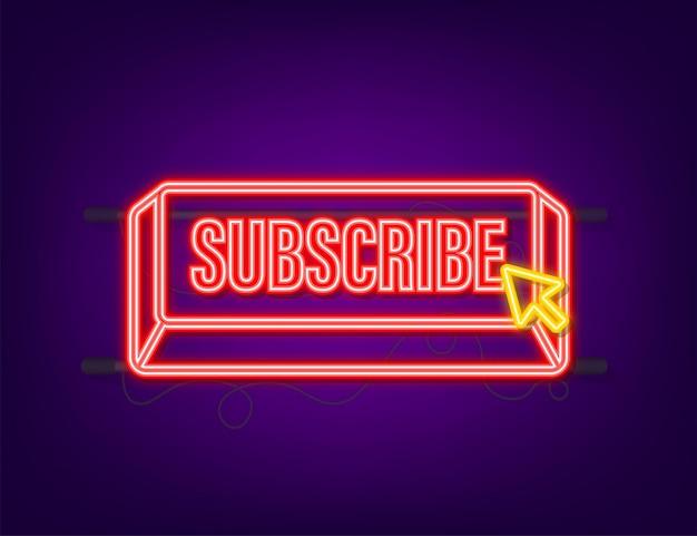 Subscribe with cursor button. internet icon. pointer click neon icon. vector stock illustration.
