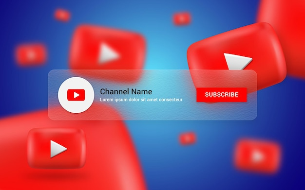 Подписывайтесь на баннер канала youtube с размытым стеклом и 3d фоном