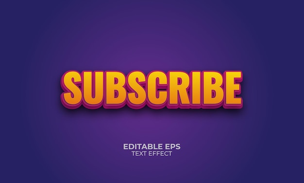 Subscribe3d 편집 가능한 텍스트 효과