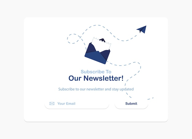 Subscription to newsletter pop up banner template in flat design