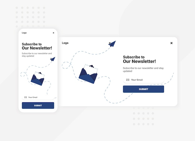 Subscription to newsletter pop up banner template for mobile and desktop version