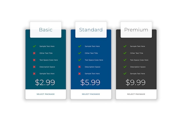 Subscription plans and pricing comparison web template