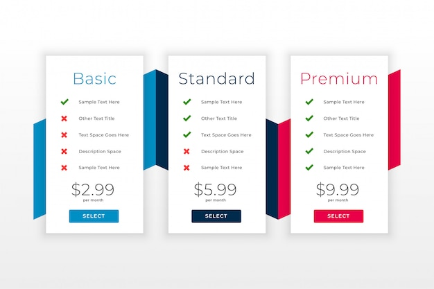 Subscription plans and pricing table web template
