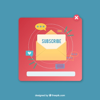 Subscription pop up set with flat design