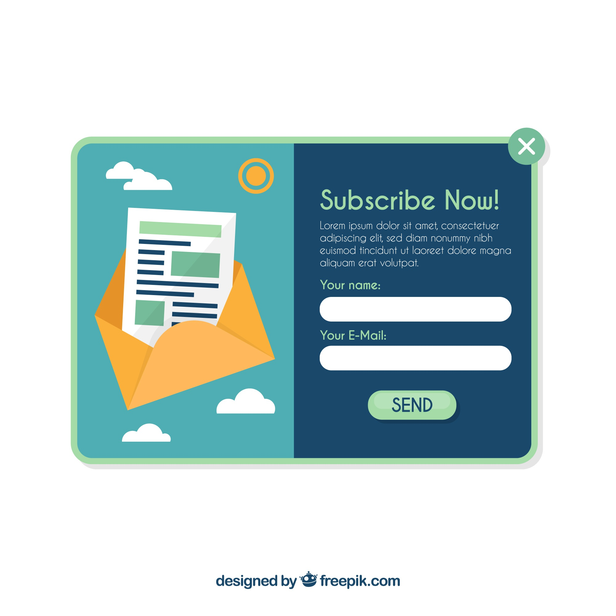 Subscription pop up template with flat design