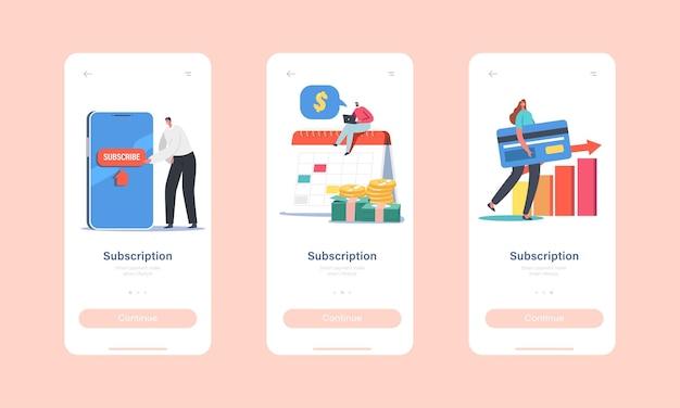 サブスクリプションサービスインターネットテクノロジーモバイルアプリページオンボード画面テンプレート。小さなキャラクターは巨大なスマートフォンで購読し、支払いの概念に銀行カードを使用します。漫画の人々のベクトル図