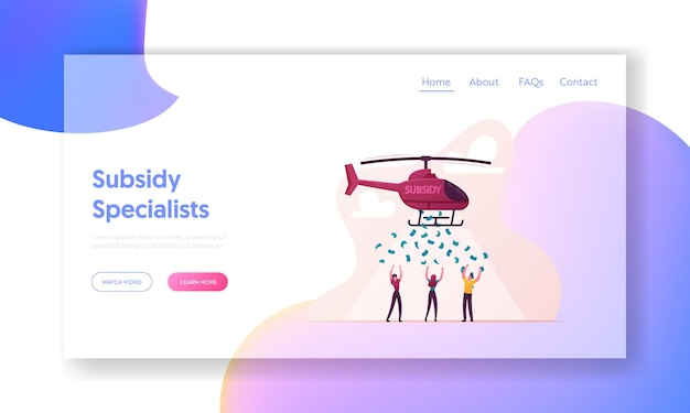 Subsidy, governmental help to people landing page template.
